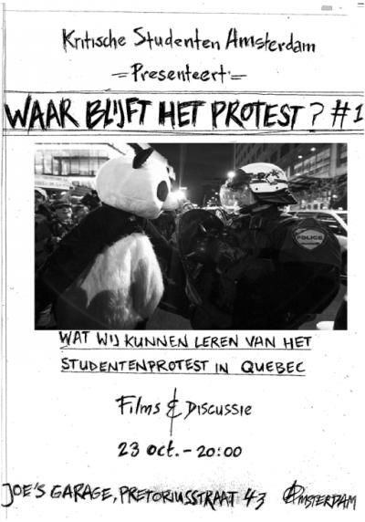 Kritische Studenten Avond waar blijft het protest?