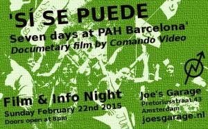 20150222_Joes_Garage_Film_Info_Night_Si_se_puede_Seven_Days_at_Barcelona